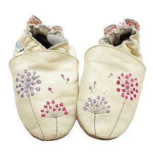 Robeez Cream Floral Print Leather Moccasins
